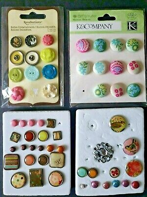 $13 • Buy Lot Of Brads/Adhesive Buttons Amy Butler Fall/Spring Colors Birds Glitter Fabric