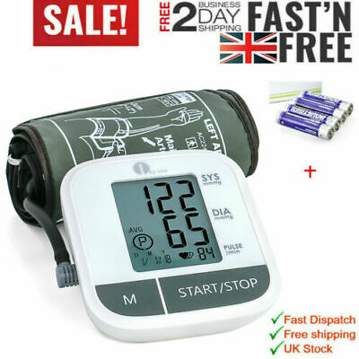 Automatic Blood Pressure Monitor BP Machine Upper Arm Large Cuff Heart W/Battery • 15.89£