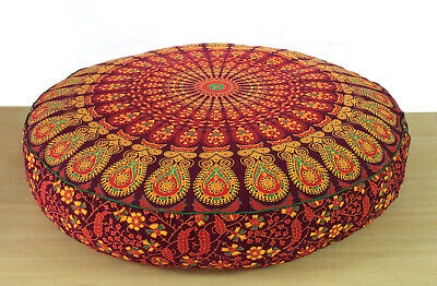 35  Round Floor Pillow Cushion Covers Room Decorative Cover Red Peacock Mandala • 10.69£