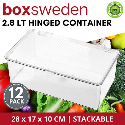 AU126.03 • Buy 12 X STACKABLE PLASTIC FOOD STORAGE CONTAINER 2.8L Fridge Pantry Box Hinged Lid