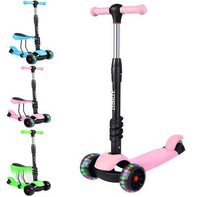 Kids Child Toddler Scooter Girls Boys Push Kick Scooter 3 Wheels Adjustable Seat • 23.39£