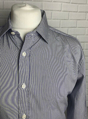 """T.M. Lewin Shirt Navy Striped  17"""" - 34.5"""" Slim Fit Double Cuff • 9.99£"""