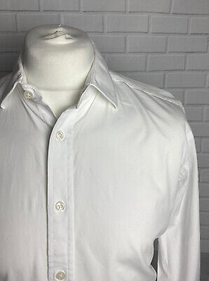 """T.M. Lewin Shirt White 16.5"""" - 38"""" Slim Fit Double Cuff • 9.99£"""