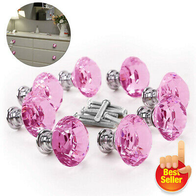10pc Pink Diamond Crystals Glass Door Knobs Drawer For Cabinet Furniture Handles • 6.99£