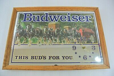 $ CDN55.49 • Buy Budweiser Mirror Clock Vintage Wall Sign USA Beer This Bud's For You Needs Motor