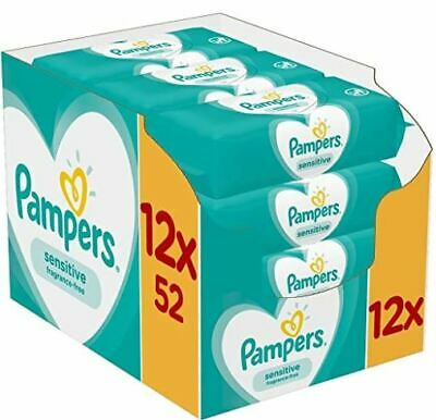 Pampers Sensitive Baby Wipes, 12 Packs (624 Wipes). FREE DELIVERY!!! • 16.99£
