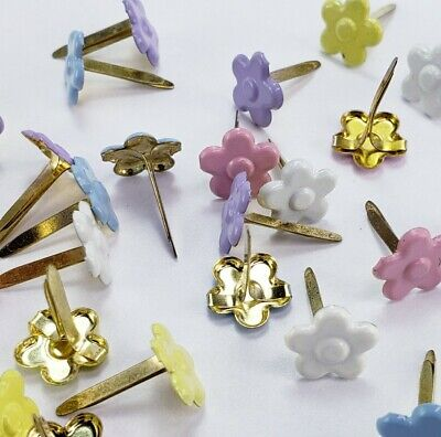 $1.50 • Buy Lot Of 25 Pastel Flower Brads Scrapbooking Embellishments 5 Clrs Crafts Stamping
