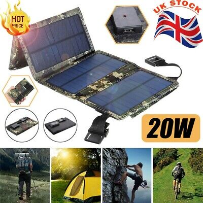 20W Portable Solar Panel Power Bank Fold Charger Outdoor Camping Travel Charge • 16.89£