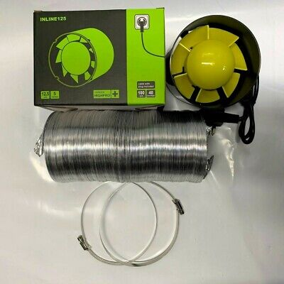 NEW 5  Inch 125mm Inline Extract Intake Grow Room Fan Kit 2.5M Ducting & 2 Clips • 29.45£