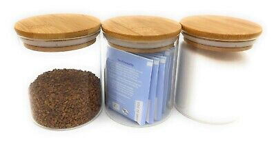 Pack Of 3 - Small High Quality Airtight Glass Storage Jars With Bamboo Lids • 13.90£