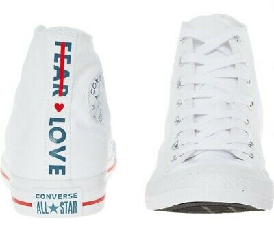 BRAND NEW Converse Chuck Taylor Fear & Love White High Tops Trainers UK 7.5  • 34.99£