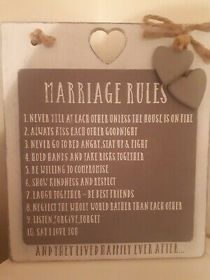 Marriage Rules Wall Hanging Wedding Gift Love Hearts Mr And Mrs • 5.49£
