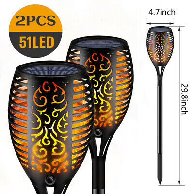 2 Pack 51 LED Solar Flickering Flame Effect Torch Stake Garden Lights UK Stock • 12.99£