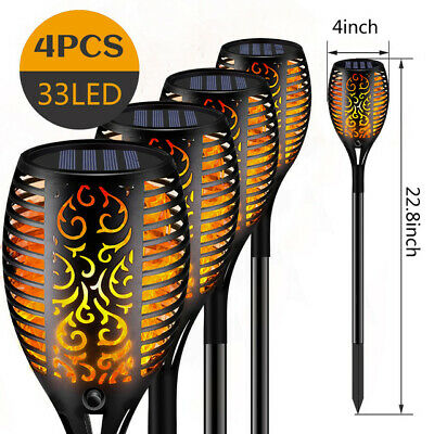 2/4/8 Pack LED Solar Flickering Flame Effect Torch Stake Garden Lights UK STOCK • 14.99£