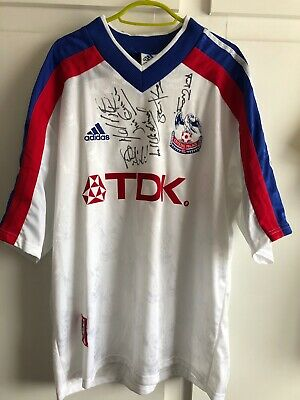 *L* SQUAD SIGNED 1998/99 Crystal Palace Away Football Shirt • 89.99£