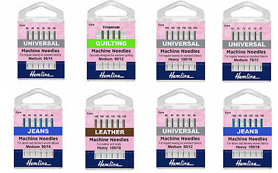 Hemline Sewing Machine Needles Universal, Jeans, Leather, Embroidery • 3.99£