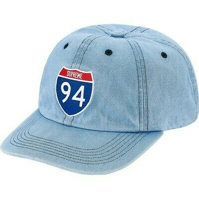 $ CDN99.99 • Buy New In Bag With Tag Supreme Interstate Logo 6 Panel Cap Hat Light Denim Fw20 Ds