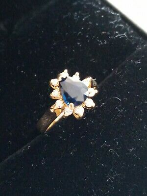AU1300 • Buy 18Kt Gold NATURAL Sapphire And Diamond Ring With Certification Size 5