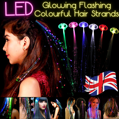 LED Glow Flashing Hair Tinsel Strands Clip Extensions Colours | 24 Hrs Delivery  • 2.99£