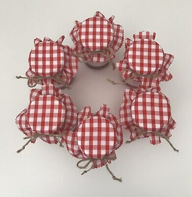 6 Homemade Red Gingham Fabric Jam Jar Covers, Labels Bands & Ties • 1.50£