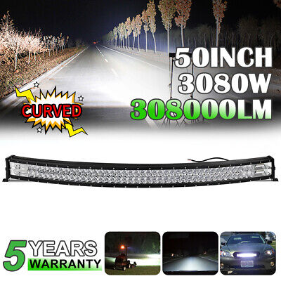 $112.63 • Buy Curved 50inch 3080W LED Light Bar Flood&Spot Roof Driving Truck RZR SUV 4WD 52''