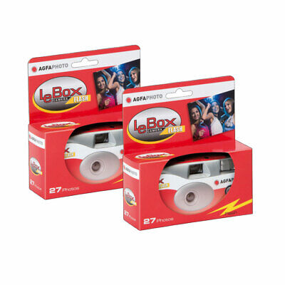 2 X AgfaPhoto LeBox 400 Disposable Camera With Flash (27 Exposures) • 19.96£