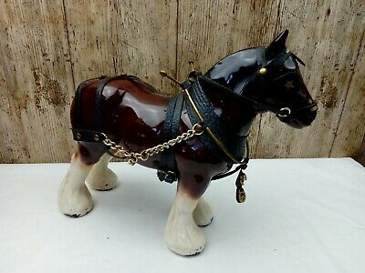 Vintage 9 Inch Fine Decorative Pottery Shire Horse Animal Figurine Ornament • 12£
