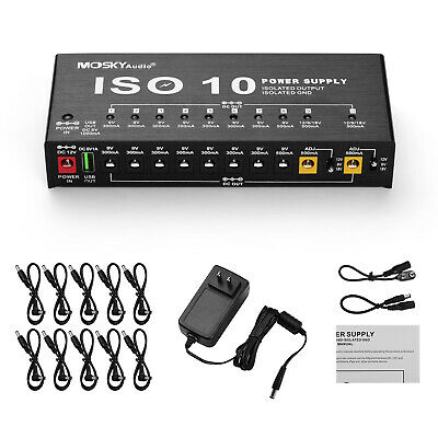 $ CDN83.56 • Buy Mosky 10 Isolated Output Guitar Effect Pedal Power Supply Station For 9/12/18V