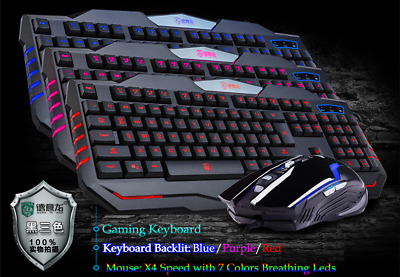 LED Backlit Keyboard And Mouse Set Wired Gaming Ergonomic For PC Laptop Computer • 15.99£