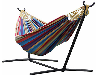Double Hammock Hanging Rope Chair Lounger Porch Swing Seat Steel Frame Stand Set • 51.20£