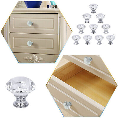 10Pcs Diamond Cupboard Wardrob Door Knobs Clear Crystal Cabinet Draw Pull Handle • 6.99£