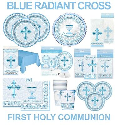 First Holy Communion Party & Table Decorations Radiant Cross Blue • 2.49£