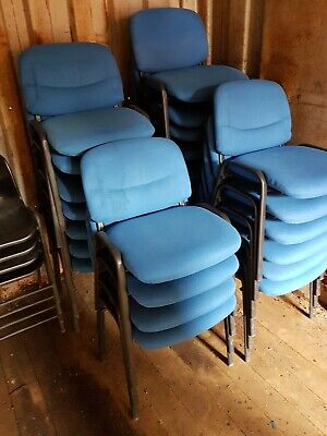 Office Chairs For Sale, Blue Fabric And Metal Framed Office Chairs. Second Hand • 8£