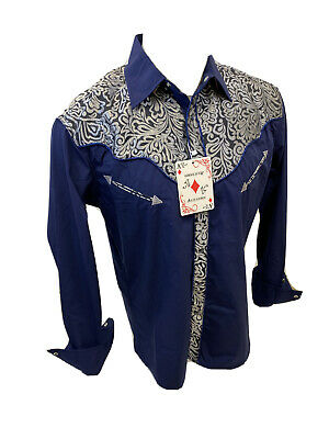 $19.95 • Buy Men RODEO WESTERN COUNTRY NAVY BLUE STITCH TRIBAL SNAP UP Shirt Cowboy 05585