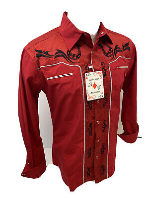 $27.99 • Buy Men RODEO WESTERN COUNTRY RED BLACK STITCH TRIBAL SNAP UP Shirt Cowboy 05530