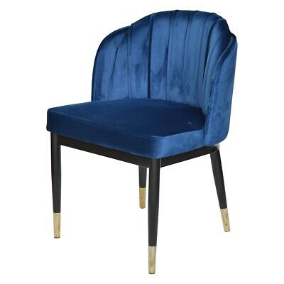 AU379 • Buy Rounded Navy Velvet Dining Chair Black Legs And Gold Tip Base. Dining Chair