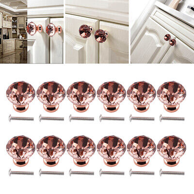 24Pc Door Knobs Handles Clear Crystal Glass Cupboard Drawer Cabinet Kitchen 30mm • 13.29£