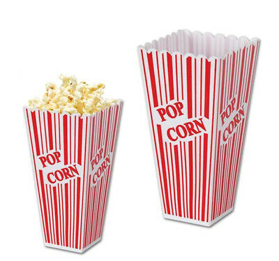2 X Plastic Popcorn Boxes Large Holder Reusable Bucket Rose Container Red • 6.99£