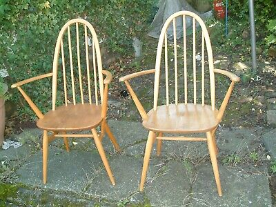 PAIR OF VINTAGE ERCOL WINDSOR QUAKER ARMCHAIRS Carver Elbow Arm Chairs VGC • 199.99£