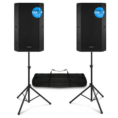 Pair Of VSA 15  Passive PA Speakers With Stands 2000w Mobile DJ Sound System • 289£