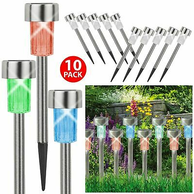 10 Stainless Steel Solar Led Garden Lights Colour Changing Outdoor Lamps Patio • 10.68£