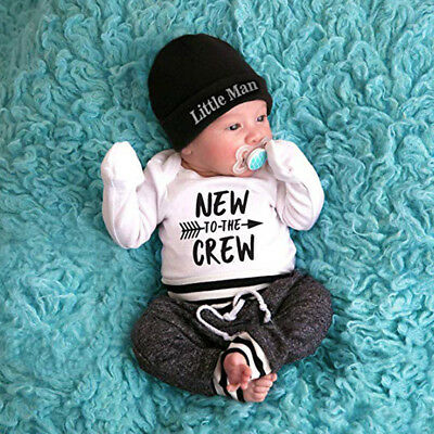 $10.06 • Buy Newborn Baby Boys Clothes 3PCS Casual Letter Print Romper Tops+Pants+Hat Outfits