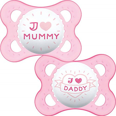 MAM I Love Mummy And Daddy Soothers 0+ Months Pack Of 2, Baby Soothers With Self • 7.12£