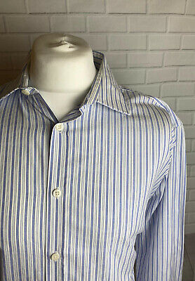 Hawes & Curtis Shirt Blue White Striped 17  - 36  Slim Fit Double Cuff  • 9.99£
