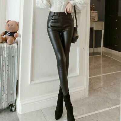 AU34.97 • Buy Women's PU Leather Leggings Stretch Pencil Pants Punk Rock Slim Trousers Black