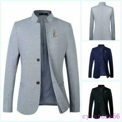 $52.19 • Buy Mens Two Buttons Slim Fit Chinese Tunic Suit Style Jacket Blazers Coats Formal S