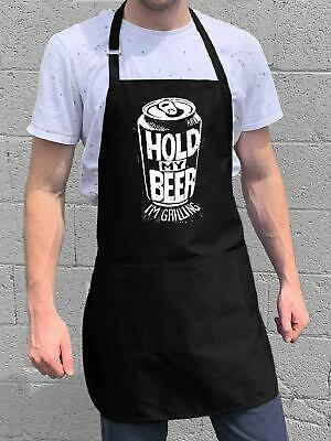 $22 • Buy Hold My Beer Apron / Funny BBQ Grilling Gift For Men - Dads & Grandpas