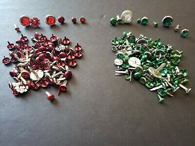 $15 • Buy Lot Of 221 Red & Green Brads Bling Metallic Matte Holidays Christmas Crafts