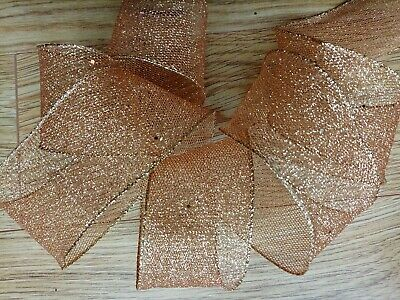 Gold Glitter Mesh Sequins Wire Edged Ribbon 2.5  / 63mm • 1.90£