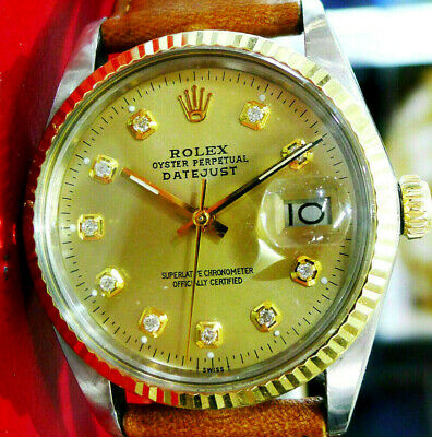 $ CDN5572.33 • Buy Mens Vintage ROLEX Oyster Perpetual Datejust 36mm Gold DIAMOND Dial Watch
